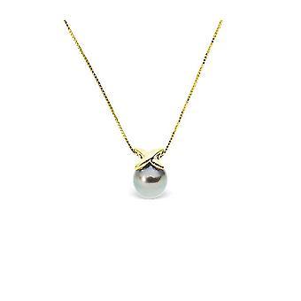 Kvinners choker halskjede i gult gull 375/1000 og Tahitian Pearl