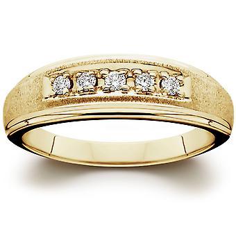Mens 1 / 6ct 14 K gult guld diamant vigselring Band
