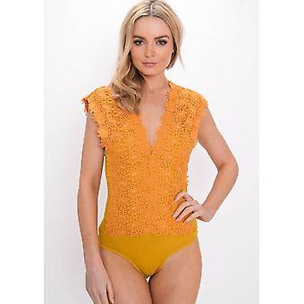 Crochet dentelle florale plonger Bodysuit moutarde