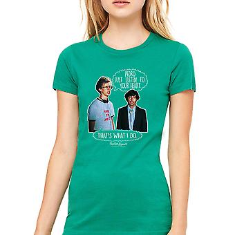 Napoleon Dynamite Listen To Your Heart Women's Kelly Green Funny T-shirt