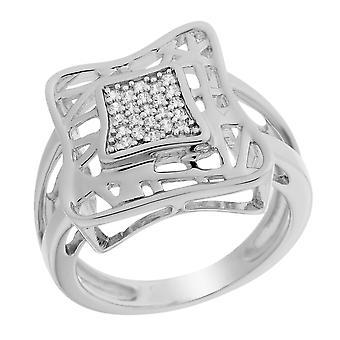 Orphelia Silver 925 Ring dubbel vierkant zirkonium ZR-6055