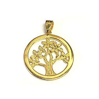 Sterling Silber 18 Karat Gold Overlay versilbert Lebensbaum Anhänger