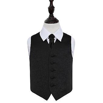 Zwarte Swirl bruiloft gilet & Cravat Set voor jongens