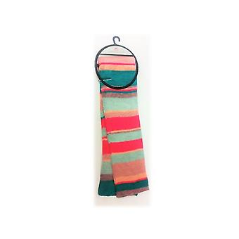 Ladies Fashionable Stripe Scarf Gl011 Perfect For Any Present Bright Pink + Green