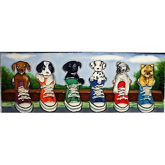 """YH Arts Ceramic Wall Art, Puppy Parade 16 x 6"""""""