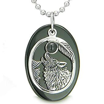 Amulet Courage Howling Wolf Moon Spiritual Powers Lucky Charm Black Onyx Pendant Necklace