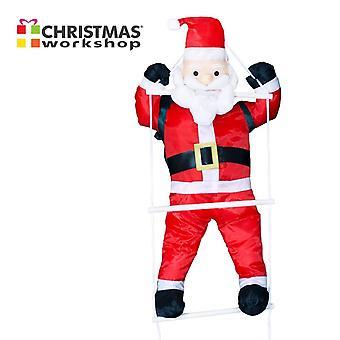 Christmas Workshop Santa mit Leiter Xmas festliche Dekoration 90x36x17cm