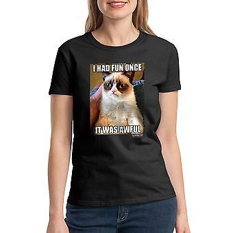 Chagrijnig Cat Fun eens vreselijke vrouwen zwart T-shirt