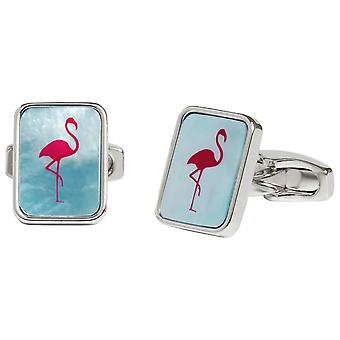 Simon Carter Mother of Pearl Flamingo Cufflinks - Blue/Pink