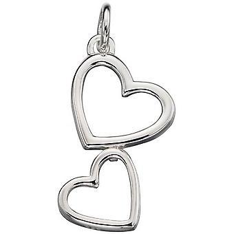 Begin dubbele hart uitgesneden hanger - zilver