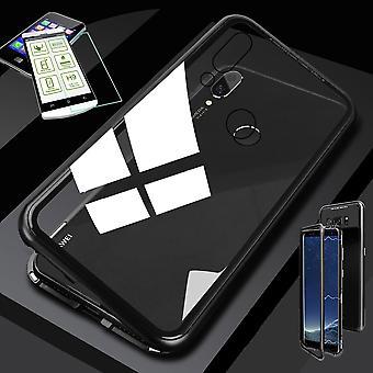Para Huawei P inteligente 2019 / honra ímã Lite 10 / metal / vidro vidro duro da bolsa caso preto / transparente + 0,26 mm H9