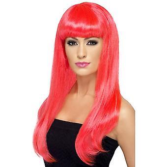 Pitkä Neon Pink aaltoileva peruukki, Babelicious peruukki Fringe, naamiaispuku lisävaruste
