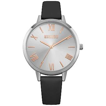 Missguided | Ladies | Black Leather Strap Silver Dial | MG001B Watch