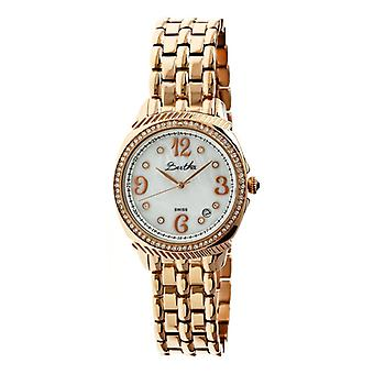 Bertha Samantha MOP Ladies Swiss Bracelet Watch - Rose Gold/White