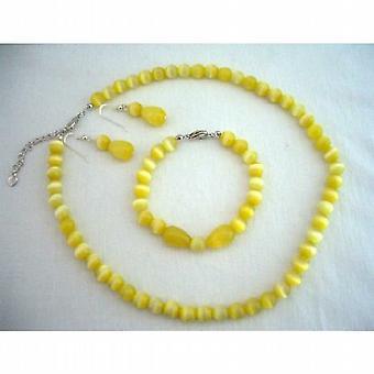 Sterling Silber benutzerdefinierte Kalk Cat Eye Perlen Halskette Ohrstecker & Armband