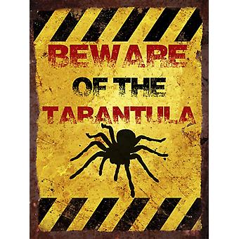 Vintage Metal Wall Sign - Beware of the tarantula
