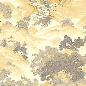 Oriental Chinese Landscape Wallpaper Temples Mountains Forest Trees CWV