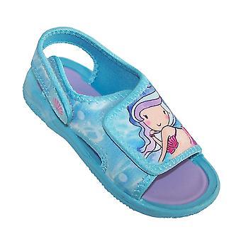 Girls blue mermaid casual sandals