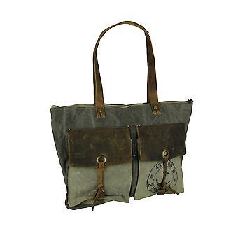 キャンバスと革ビンテージ スタイルの素朴な航海プリント 2 ポケット トートバッグします。