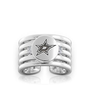 Dallas Stars Engraved Sterling Silver Diamond Multiband Cuff Ring