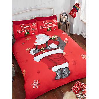Santa stop hier kerst Dekbedovertrek en kussensloop set