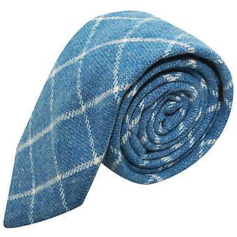 Azure Blue Birdseye Weave Check Tie