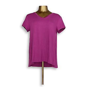 H by Halston Women's Top Essentials V-Neck Tee Purple A306231 #0