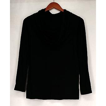Kate & Mallory Top Long Sleeve Off The Shoulder Ruched Side Black A428923