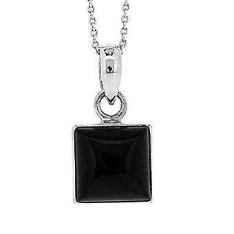 Nova Silver - Chain with women's pendant with onyx (1 -7 ct) - silver sterling 925 - cod. ns/nsp60/on
