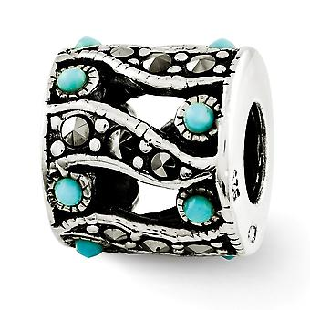 925 Sterling Silver finish Reflections Marcasite and Simulated Turquoise Bead Charm Pendant Necklace Jewelry Gifts for W