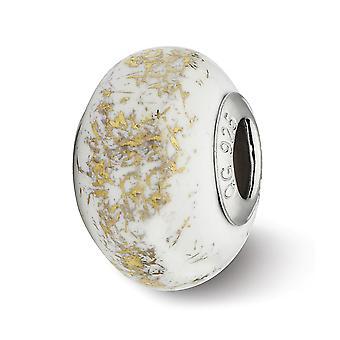 925 Sterling Silver Polished Antiquário Reflexão Branca com Folha de Ouro Joias de Colar de Pingente de Charme