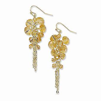 Gold tone Shepherd hook Yellow Crystal Beaded Cluster Long Drop Dangle Earrings Measures 66x20mm Wide Jewelry Gifts for