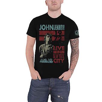 John Lennon T Shirt Live in NYC 1972 distressed new Official Mens Black