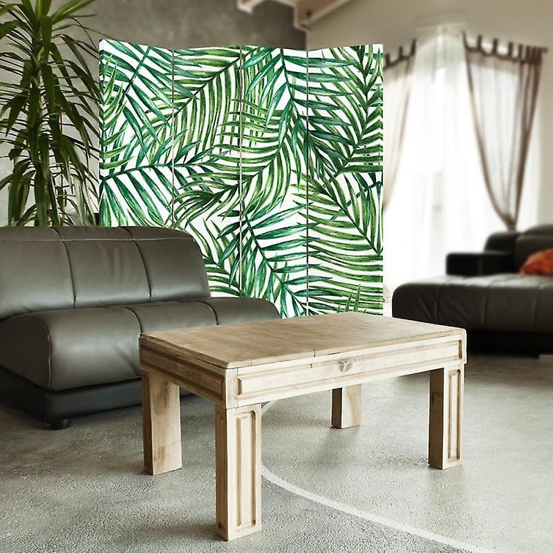 Diviseur de pièce, 4 panneaux, double-côté, toile, composition des brindilles