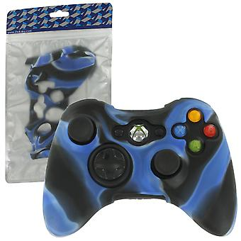 Soft silicone rubber skin grip cover case for microsoft xbox 360 controller - camo blue