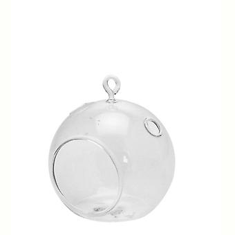 Simple 8cm Clear Open Fronted Fillable Glass Tealight Bauble