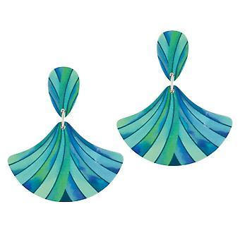 Eternal Collection Fandango Turquoise Multicoloured Stripe Aluminium Drop Pierced Earrings