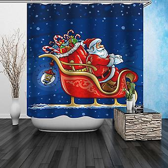 Santa On His Sleigh Shower Curtain