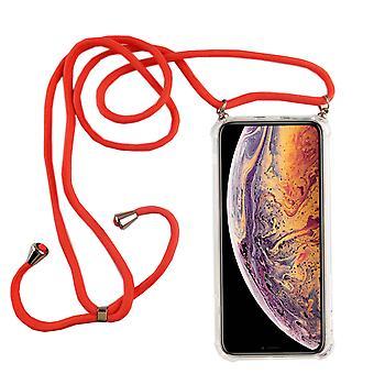 Telefoon keten voor Apple iPhone XS Max-smartphone ketting geval met band-snoer met geval te hangen in roze