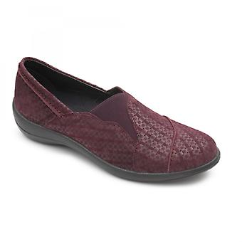 Padders Ruth Ladies Leather Wide (e Fit) Loafers Plum