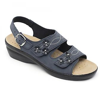 Padders Bluebell Ladies Leather Wide (e Fit) Sandals Navy
