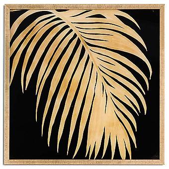 Hill interieurs metallic Palm glas afbeelding in gouden frame