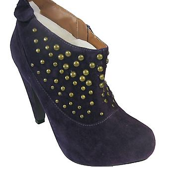 Rascal Faux Suede Bronze Stud Ankle Boots
