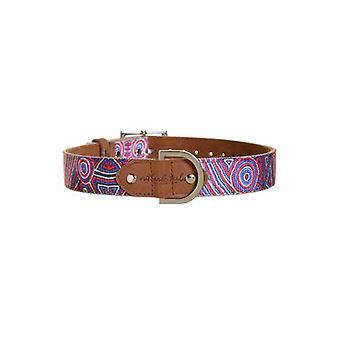 Outback Tails Leather Dog Collar (Digging For Truffles - Blue And Red ) Medium
