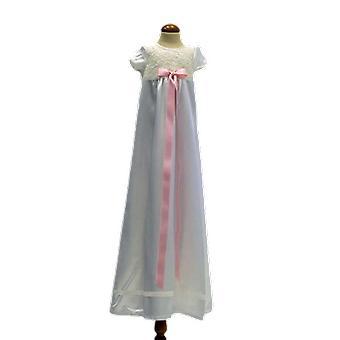 Dopklänning Med Kort ärm, Bred Rosa Rosett .grace Of Sweden