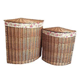 Set di 2 cestini di lavanderia luce angolo al vapore con giardino rosa fodera