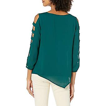 A. Byer Junior-apos;s Asymétrique Sheer Top W/Knit Tee and Necklace, Pine, Small