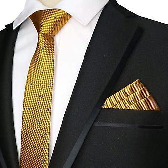 Ouro amarelo e azul polka dot magro empate & lenço de bolso
