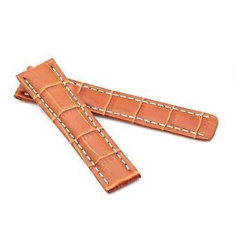 Crocodile grain calf leather watch strap tan  20mm to 24mm