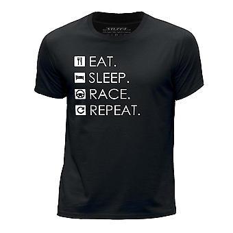 STUFF4 Boy's Round Neck T-Shirt/Eat Sleep Race Repeat/Black